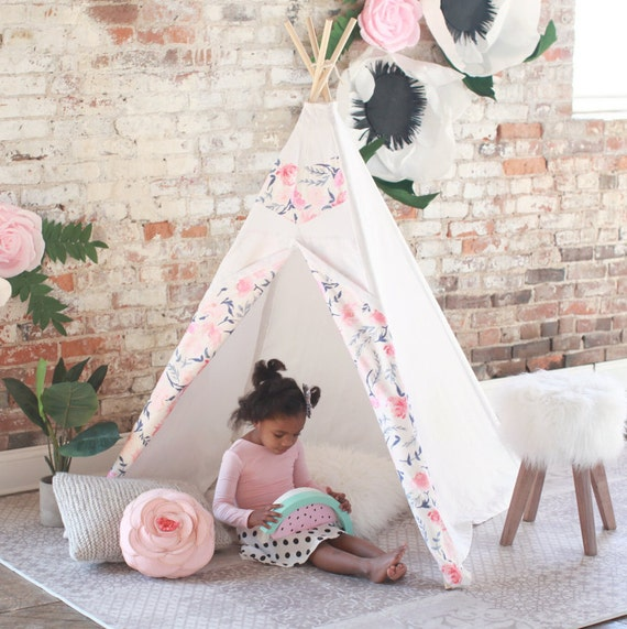 Kids Teepee Tent Spring Posy - Girls teepee, childrens teepee for nursery, playroom, kids photo prop, play teepee, tipi, tee-pee, play tent