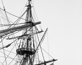 Pirate Ship Print, Black and White Photography, Ship Art, Nautical Prints, Sea Print, Provincetown Photography Prints, Nautical Art Prints