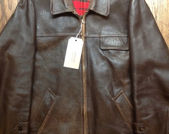 """Vintage 1960s 60s brown chrome tanned leather jacket Canadienne 46"""" chest patina rockabilly zip up"""