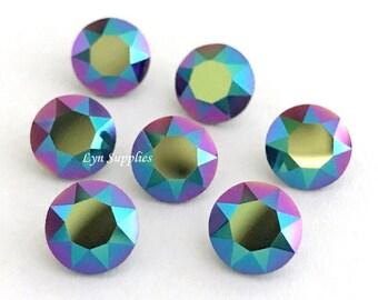 1088 ss39 SCARABAEUS GREEN Swarovski Crystal XIRIUS Chaton Pointed Back Round 12 pieces