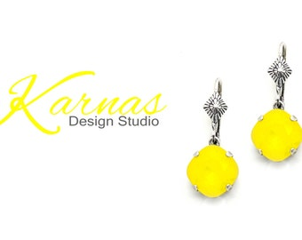 YELLOW OPAL Crystal Dangle Earrings Made With Swarovski Elements Cushion Cut *Pick Your Finish *Karnas Design Studio™ *Free Shipping*