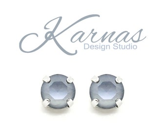 DARK GREY Lacquer Pro 8mm Crystal Stud or Drop Earrings Swarovski Crystal *Pick Your Finish *Karnas Design Studio *Free Shipping
