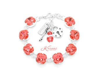 PADPARADSCHA 12mm Cushion Cut Pendant Bracelet Made With Swarovski Elements *Pick Your Finish *Karnas Design Studio *Free Shipping*