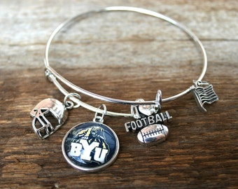 BYU bracelet football patriotic brigham young university cougars chams rise and shout fan jewlery  charm bracelet bangel