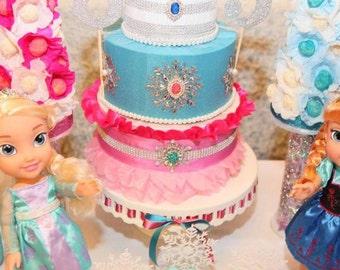 Frozen Birthday cake-Design Fabric Cake-Frozen Party Cake-Frozen Ideas-Frozen Movie Cake-Frozen