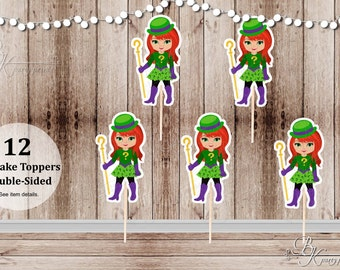 Superhero Villain Girl Party - Set of 12 Girl Riddler Inspired Double Sided Cupcake Toppers