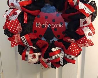 SummerWood Painted Welcome Ladybug Burlap Wreath