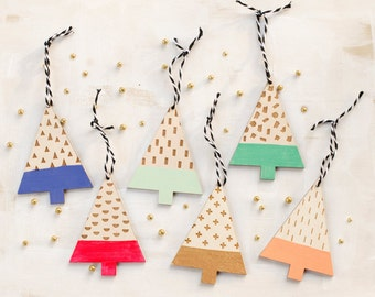 Modern Christmas Tree Wooden Ornaments - Set of 3 - stocking stuffers  -IN STOCK - Ships out in 3-5 business days.