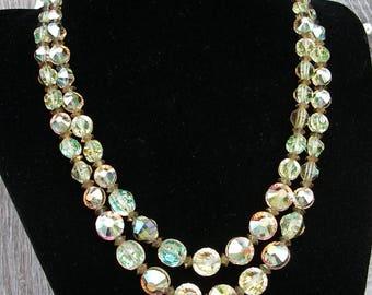 Vintage Hobe' Necklace, Hobe' Double Strand Aurora Borealis Crystal Necklace, Hobe' Jewelry, Vintage Jewelry, 2 Strand AB Crystal Necklace