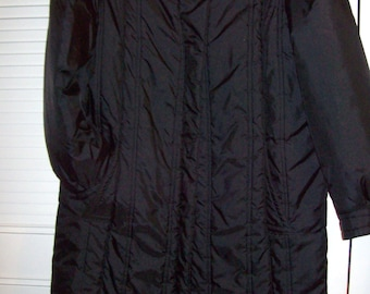 Coat, Long , Quilted Puffy Maxi Black Storm Coat,  Size 12 - 14 see details