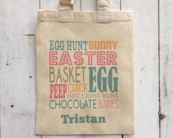 Thelakesideshed personalised easter egg hunt bag easter bag spring colours easter bag pastel negle Choice Image