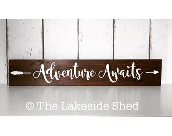 Adventure Awaits | Adventure Awaits Sign |Pallet Sign  Wooden Adventure Sign |Freestanding Sign | Rustic Wooden Sign | Rustic Nursery Decor