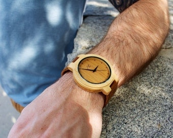 Bamboo Wood Watch for men, Wooden Watch for Him, Gift for Him, Mens Wood Watch, Personalized Wood Watch, Wedding gift, Mens Wooden Watch