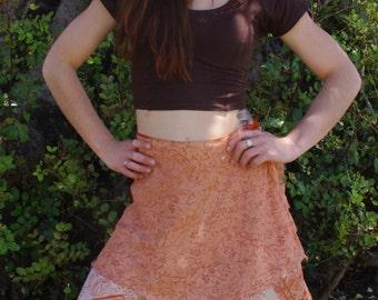 Wrap Around Skirt Silk Skirt Faerie Clothing Hippie Skirt Mini Skirt Ethnic Skirt Tribal Skirt Boho Bohemian Skirt Elven Clothing