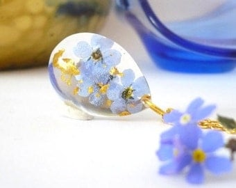 Forget Me Not Jewelry - Real Flower Necklace - Pressed Flower Necklaces - Floral Resin Jewelry - Pressed Flower Jewelry - Gold Flakes
