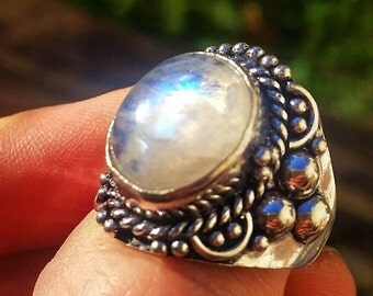 Moonstone Sterling Silver Ring Size 9