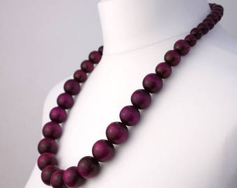 Long Purple Wooden Bead Necklace | Chunky Purple Necklace | Long Purple Necklace