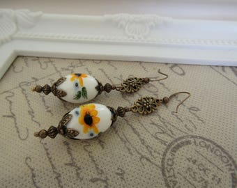 Vintage Style Sunflower Yellow Earrings