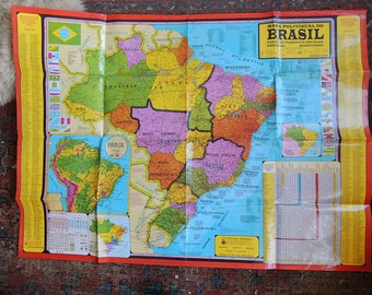 Large Map of Brasil Plasticized