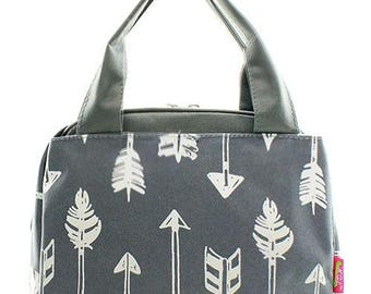 Personalized Gray Arrow Print Insulated Lunch Bag * Embroidered Lunch Tote with Name or Monogram * Back to School Lunch