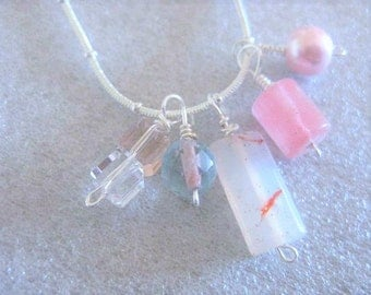 Necklace ~ Morning sky..... Pink Blue Glass beads Cluster on  Silver chain