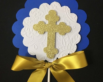 Baptism Centerpieces stick/ Royal blue centerpieces stick/ Cross centerpieces stick