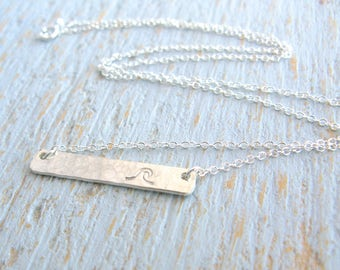 Wave Necklace, Silver Wave Necklace, Wave Bar Necklace, Stamped Bar Necklace, Simple Wave Necklace, Beach Necklace