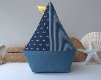 Denim Sailboat toy, sailboat pillow, nautical baby shower, plush boat toy. Diapper cake topper. Nursery and home decor, gift for mom to be