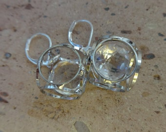 Geometric Caged Crystal Earrings, Austrian Crystal Earrings, Floating Crystal Earrings, Crystal Jewelry, Trending, Trends, Gift for Her