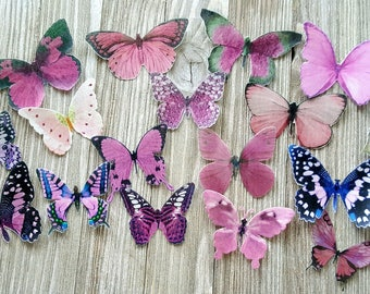 18 Garden Pink Edible Butterflies Romantic Cake Toppers
