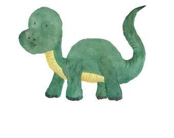Dinosaur Watercolor Brachiosaurus- Nursery Room or Playroom art print