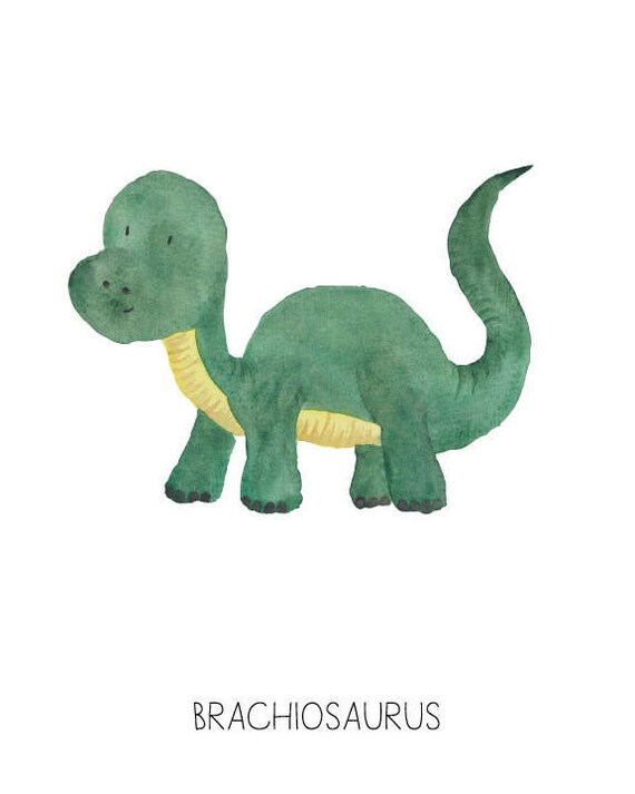Dinosaur Watercolor Brachiosaurus- Nursery Room or Playroom art print