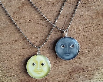 Emoji Moon Resin Necklace Couples Bff