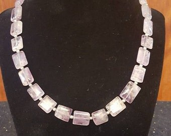 Genuine Amethyst Tablet Bead Handmade Necklace with Lobster Claw Closure