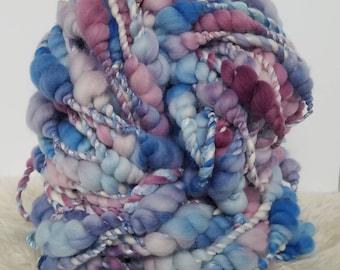 Hand Dyed Yarn. Hand Spun Yarn. Beehive Yarn. Wool Art. Sculptural Yarn. Merino Wool. Giant Yarn. Blue Yarn. Purple Yarn. Thick and Thin