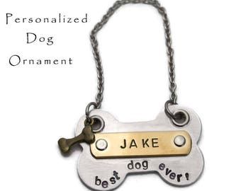 Hand Stamped Dog Ornament Pet Christmas Decoration Best Dog Ever Personalized Ornament Gift for Dog Lover Gift Tag  Gifts Under 25