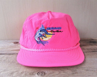 BRAID Pro Team Fishing Vintage 90s Pink Fluorescent Snapback Hat Neon Rope Lined Big Game Angler Promo Baseball Cap Designer Award Headwear