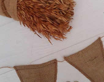 Burlap Banner - Rustic Banner - Burlap Bunting - Burlap Garland - Wedding Prop - Wedding Pennant Banner - Rustic Wedding Decor