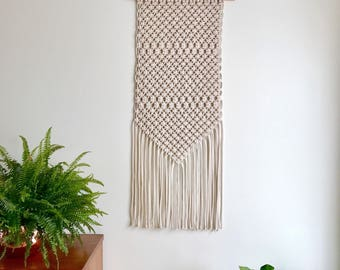 Large Macrame Cotton Wall Hanging / Cotton Copper Macrame Wall Art