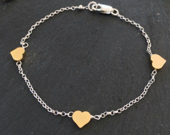 Sterling silver and chunky Gold vermeil heart bracelet
