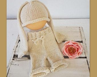 Baby Bunny Beanie and Shorts Set - newborn bunny hat - bunny photography prop - newborn prop - baby rabbit hat - animal hat - baby girl hat