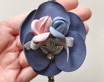 Roselle Headband - Pastel headband - Boho headband - Flower headband - Woodland headband - Fascinator - Adult headband - Navy Flowers