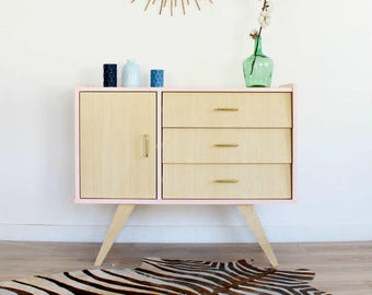 Chest of drawers, dresser, mid century modern, cabinet, vintage & scandinavian design, pink dresser, model Bertille