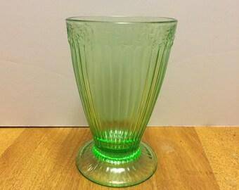 Vintage Green Depression Glass Tumbler Antique Drinking Glasses Green Glassware 1920s Kitchen