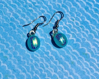 Fused Glass Earrings in Blue/Green