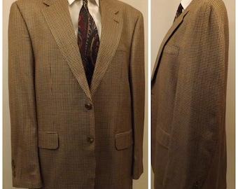 80s Chaps Silk Houndstooth Men's Sport Coat Size 40R Ralph Lauren