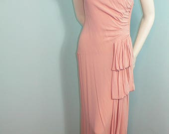 1940's Pale Dusty Rose Pink Gown with Shirring and Gathered Side Drape