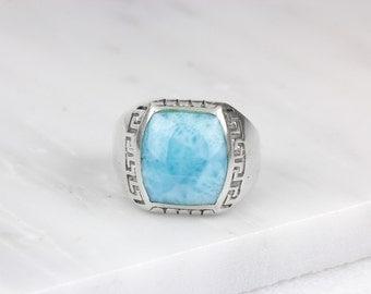 Mens Larimar Ring/ Blue Larimar Ring/ Larimar Jewelry/ Silver Larimar Ring/ Blue Gemstone Ring