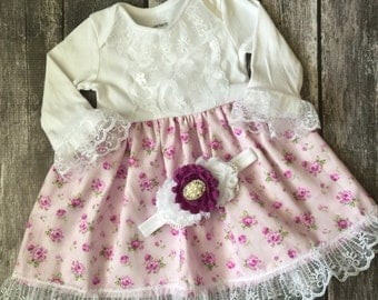Tea Party Dress, Baby Girl Dresses, Floral Dress, Boutique Gown, Vintage Style Baby Dress, Special Occassion Baby Girl Outfit, Church Gown