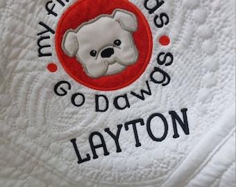 UGA Baby Quilt, Go Dawgs baby, Dawgs baby blanket, Bulldogs Baby, UGA quilt, Dawgs quilt, Bulldogs fan, Dawgs fan, Dawgs  baby